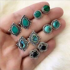 5 Paar Blaue Türkis Pfau Feder Ohrringe Gericht Retro Ohrringe Y4B2