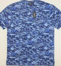 Polo Ralph Lauren Hawaii Hawaiian Henley T Shirt Blue Pony Hula Girl Palm Tree L