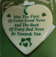 Ireland MAY THE FACE OF EVERY GOOD NEWS HEART HANGING ORNAMENT FINE PORCELAIN