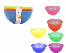 Set Of 6 Coloured Plastic Bowls Salad Reuse Picnic Party BBQ Camping In/Outdoor