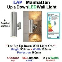 Up Down LED Wall Light LAP MANHATTAN Brushed Stainless Steel OUTDOOR 650Lm 6500k
