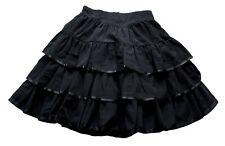 Vintage 80's Knee Length Black Tiered Rara Skirt Retro Boho 6 - 8