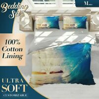 Surfing Wave Beach Blue Doona Cover Set with 2x Matching Pillowcases