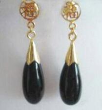 18Kgp Stud Fortune Earrings Pair Black Agate Drop