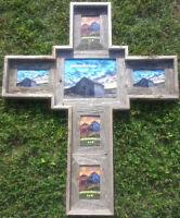 barnwood barn wood cross multi picture frame
