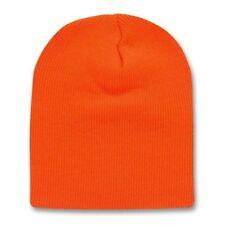 Orange 8 Inch Short Knit Beanie Winter Ski Cap Caps Hat Hats Toque Toques