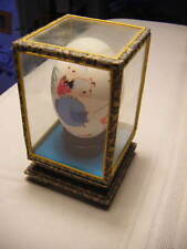 unusual Asian handpainted Egg 2 children red paper lantern signed +Glass display