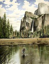 FLY FISHING YOSEMITE Watercolor 8 x 10 ART Print by Artist DJ Rogers