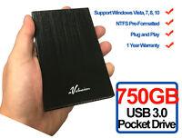 Avolusion HD250U3 750GB USB 3.0 Portable External Hard Drive (Black) Ultra Slim