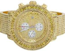 Mens Breitling A13370 Super Avenger XL Gold Plated Canary Diamond Watch 24.75 Ct