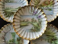 (9 ) Antique c.1887 H&Co. Haviland Limoges Hp Porcelain Scenic Plates Signed