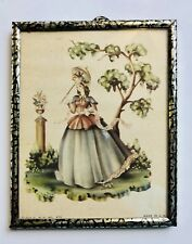 """Vintage Framed Miniature print Victorian Lady with Parasol 4"""" X 5"""" Tin Frame"""