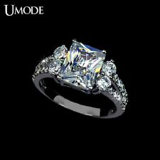 Ring White Gold plated 3 Ct Emerald Cut Zirconia Engagement Ring 5.75 & 7.5
