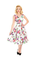 Hearts & Roses White Pink Purple Retro Floral Womens 1950 Rockabilly Swing Dress