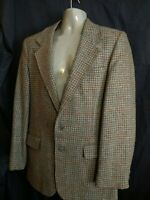 VTG David Hunter Levi Strauss WOOL Tweed Sport Coat Jacket  Blazer plaid Tan USA