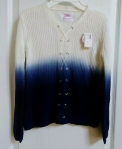 JUSTICE GIRLS Blue/Creme Long Sleeve Sweater Size 12 NWT Cute and Warm $29.50