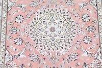 250 Knots Traditional Floral PINK SALMON Wool/Silk Nain Area Rug Hand-made 5'x8'