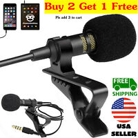 Mini Lavalier Mic Microphone For Cell Phone PC Recording 3.5mm Clip-on Lapel USA