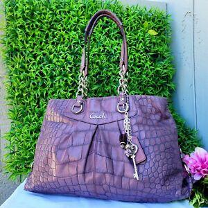 Coach 17661 Ashley croco LILAC PURPLE Leather carryall satchel handbag shoulder
