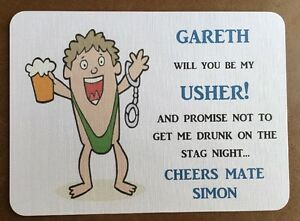 Will You Be My Usher, BESTMAN Wedding Card, Funny, Stag Night Personalised Gift