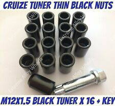 Alloy Wheel B Black Tuner Nuts x 12 M12x1.5 Volvo 480 S40 V40 Citroen C Zero