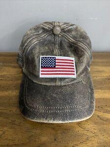 Leather Stetson American flag baseball cap Brown