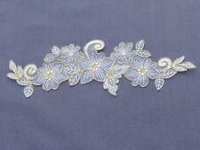 25cm BTIFUL  FLOWERS WHITE & GOLD APPLIQUE BRIDAL TRIM