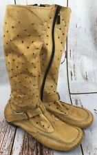 BELLAGIO Womens Sz 39 (US 8.5) Boots Brown Ostrich Leather Zip Up