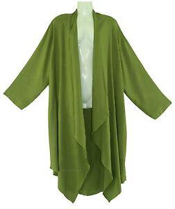 BeautyBatik Avocado green Women Long Sleeve Plus Size Cardigan Cover up Duster