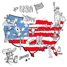 USA Map Postcard, Things that Different Regions are Famous For K3