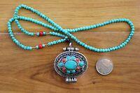 PN908 Tibetan Jewelry Turquoise Coral Weaving Filaments Prayer Box Gau Pendant
