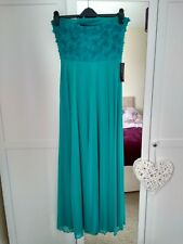 Maxi Dress 12 green chiffon wedding party NEW RRP £79 removable straps / bandeau