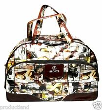 VOGUE FASHION PRINT LADIES SHOPPING TRAVELLING DUFFEL BAG GLOSSY PU LEATHER