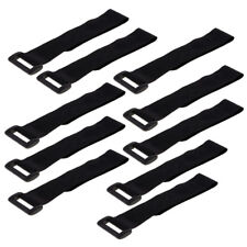 10pcs Nylon Hook and Loop Strap Computer Cable Ties with Buckle Band Black