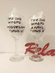 FRIENDS Personalised WINE Glass Birthday 18th 21st 30th 40th Any Age Gift 💖
