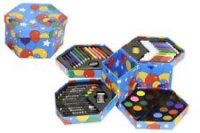 Childrens 52 Pcs Craft Art Artists Set Hexagonal Box Crayons Paints Pens Pencils