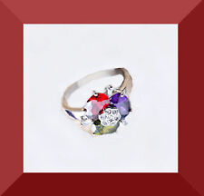 """New Multicolor Topaz Gemstone Silver """"Handmade"""" Ring Size 6 FREE SHIPPING #160"""