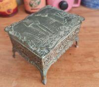 'T In Swan' Japanese Silver Plate Trinket/Jewellery Box: Praying Farmer Design