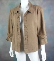 Christopher & Banks Women's Open Front Jacket Size L Brown Faux Suede 3/4 Sleeve