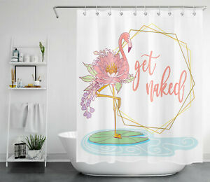 Abstract Pink Flamingo Lotus Flower Funny Word Shower Curtain Bathroom Decor