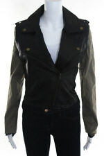 Lush Multi-Color Leather Long Sleeve Crew Neck Zipper Front Jacket Size Small