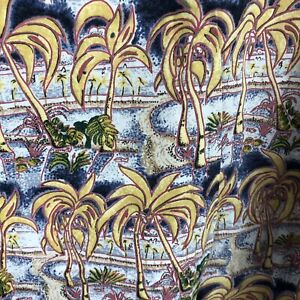 Reyn Spooner Mens XL Miley Collection Rayon Hawaiian Shirt Palm Trees Vintage
