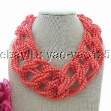 "19"" 9 Strands Orange Coral Statement Necklace"