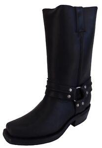 Grinders Men's Renegade Hi Black Leather Biker/Cowboy Boots