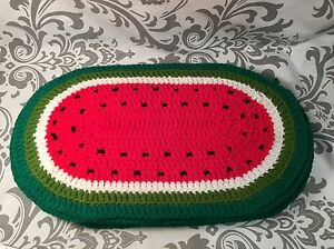 6 Finished Crochet Crocheted Watermelon Placemats Pot Holders Hot Pad #383