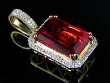 "10k Yellow Gold Royal Red Ruby Genuine Diamond Charm Pendant 1.05"" .35ct"