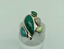 Whitney Kelly Sterling Silver Multi Gemstone Large Cocktail Ring Size P 1/2