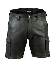 Awanstar Cargo leder shorts Ledershorts Farbe Antik,Leder Shorts,kurze lederhose