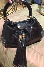 GUCCI 100% AUTHENTIC PYTHON LEATHER INDY TASSEL HOBO BAG