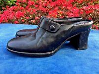 SHOE SALE on CLARK'S Clogs Mules Biker High Heels LEATHER Womens Shoes Sz 7.5